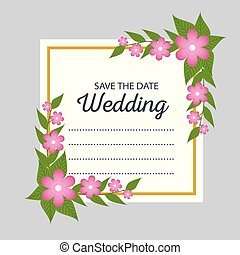 beautiful wedding card with flowers and leaves design