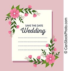 beautiful wedding card with flowers and leaves