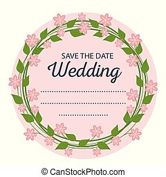 beautiful wedding card with flowers design and leaves
