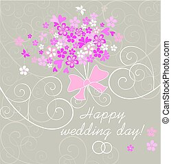 Beautiful wedding card with pink abstract bouquet