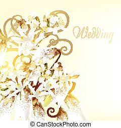 Beautiful wedding card with white f