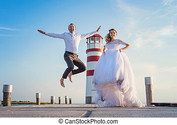 Beautiful wedding couple - Beautiful young wedding couple on...