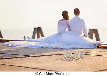 Beautiful wedding couple - Beautiful young wedding couple ...