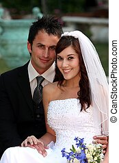 Beautiful Wedding Couple - Gorgeous happy smiling couple on...