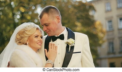 Beautiful Wedding Couple Lovely Embraces