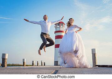 Beautiful wedding couple - Beautiful young wedding couple on...
