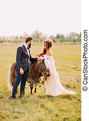 Beautiful wedding couple walking with little pony in the field