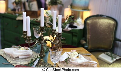 Beautiful wedding decorations to wedding. Beautiful flowers are on the table.