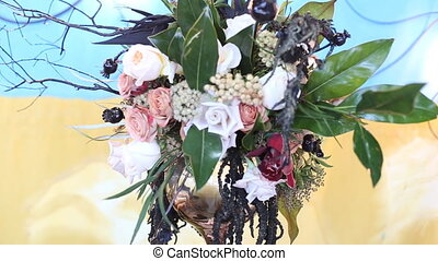 Beautiful wedding decorations to wedding. Beautiful flowers are on the table