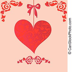 Beautiful wedding decorative card with hanging heart