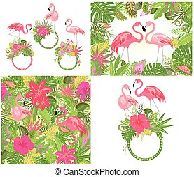 Beautiful wedding design and wallpaper with exotic flowers, tropical leaves and pink flamingo