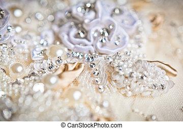 wedding dress close up - beautiful wedding dress close up