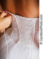 beautiful wedding dress close up