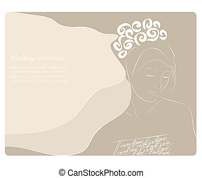 Beautiful wedding invitation with bride. Vector Illustration