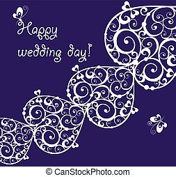 Beautiful wedding lacy design on violet background