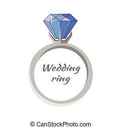 Beautiful Wedding Ring with Blue Gemstone