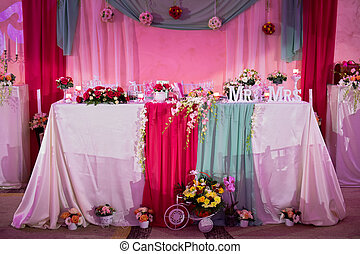 Mr and mrs bride and groom wedding table. Wedding reception table ...