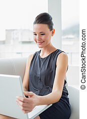 Beautiful well dressed young woman using laptop on sofa