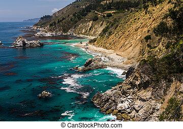 Beautiful coastline in summer along Western USA.