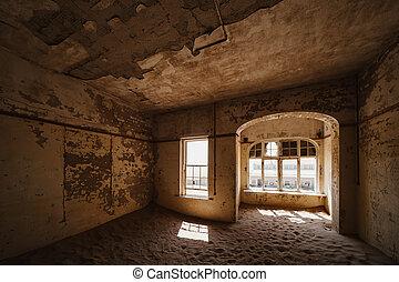 beautiful western villa with big windows and desert sand coverding the floor