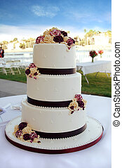 Wedding Cake - Beautiful White and Burgundy Wedding Cake...