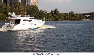 beautiful white boat floating on the river Dnieper