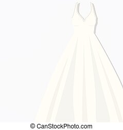 beautiful white briding dress Vector illustration evening...
