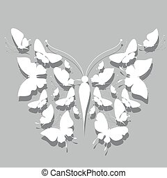 beautiful white butterflies,on a grey