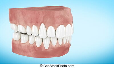 Beautiful White Clean Teeth Turning Close Up 3d Animation....