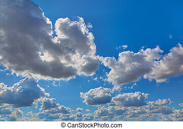 Beautiful white clouds against the blue sky.
