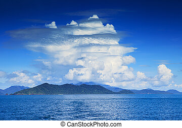 beautiful white clouds on blue sky and clear sea water use as na