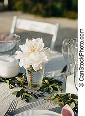 Beautiful white flower on the table