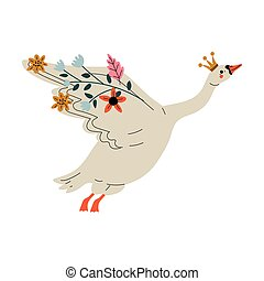 Beautiful White Flying Swan Princess with Golden Crown and Flowers, Lovely Fairytale Bird Vector Illustration