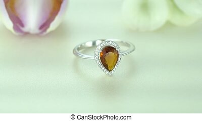 Beautiful White Gold Pear Ring