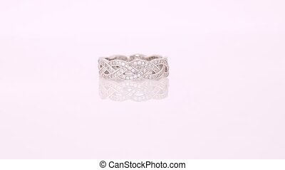 Beautiful White Gold Diamond Ring paved with stones