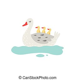 Beautiful White Goose Cartoon Character Swimming in Pond...