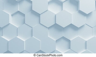 Beautiful White Hexagons on Surface Moving in Seamless 3d Animation. Abstract Motion Design Background. Computer Generated Process. 4k Ultra HD 3840x2160.