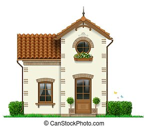 Beautiful white little house with trees in pots