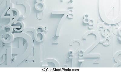Beautiful White Numbers on Surface Moving in Looped 3d...
