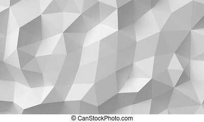 Beautiful White Polygonal Surface Moving in Seamless 3d animation. Abstract Motion Design Background in 4k. Computer Generated Process.
