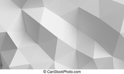 Beautiful White Polygonal Surface Morphing in Seamless 3d animation. Abstract Motion Design Background. Computer Generated Process.
