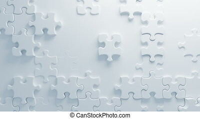 Beautiful White Puzzles on Surface in Seamless 3d Animation. Abstract Motion Design Background. Computer Generated Process. 4k UHD 3840x2160.