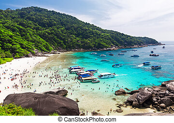Beautiful white sand beach and turquoise water of Andaman Sea.
