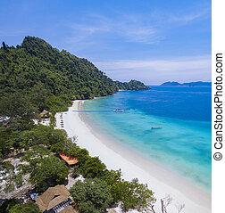 beautiful white sand beach of nyaung oo phee island andaman sea southern of myanmar