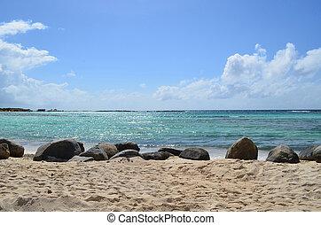 Beautiful White Sand Beaches of Baby Beach in Aruba