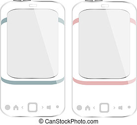 white smartphone set on white background