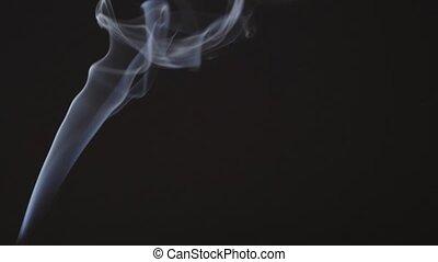 Beautiful white smoke in isolation on a black background slowly moves upwards 4k