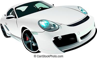 white sports prestige car front view