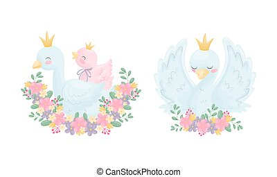 Beautiful White Swan or Goose with Golden Crown and Floral Arrangement Vector Set