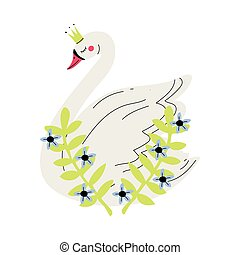 Beautiful White Swan Princess with Golden Crown and Flowers, Lovely Fairytale Bird Queen Vector Illustration
